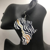 Zebra African Map Wooden Earrings RLW2085