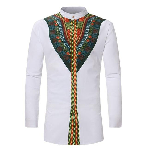 African Print Dashiki Men Long Sleeve Shirt RLW2264