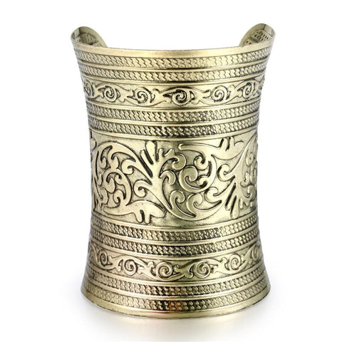 Tibetan gold silver plated carved cuff  bangle RLW2082