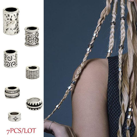 7pcs/set Ancient silver Charm  Dreadlock /Hair  beads RLW1944