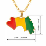 Guinea Map & Flag Gold Color Pendant /Necklaces RLW2034