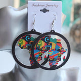Tribal Colorful  African Map Hollow Out Drop Earrings RLW2183