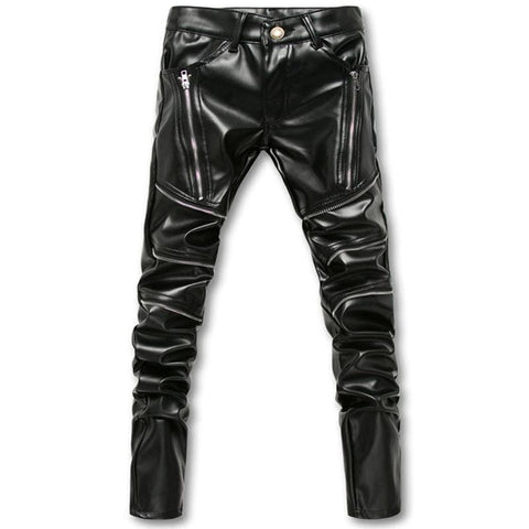 Skinny Men Gothic Punk Fashion Leather Pants RLW2132