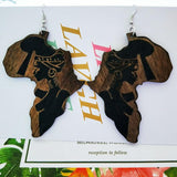 Brown Wood Africa Map Tribal Engraved Earrings RLW2184