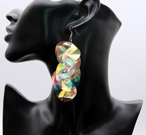 Irregular Big Colorful Sequin Flower Drop Earrings RLW2775
