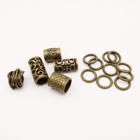 15Pcs/Pack Mix Antique Brass Set for hair braid dreadlock beads RLW2422