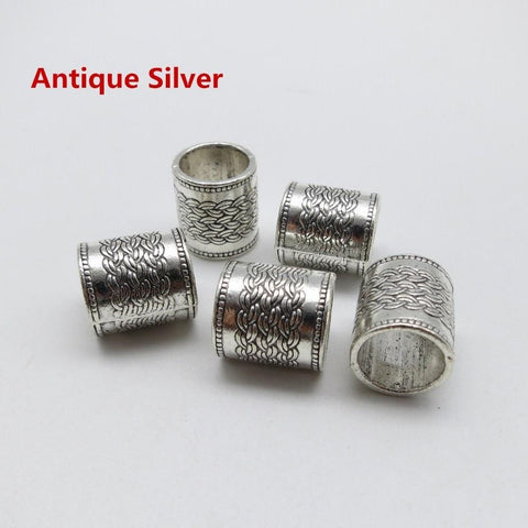 5Pcs/pack Antique Silver/Antique Gold/Antique Bronze hair braid dreadlock beads RLW2276