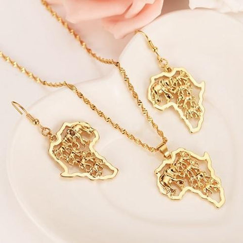 Lion of Judah Jewelry Set Pendant & Earrings Gold Color RLW2479