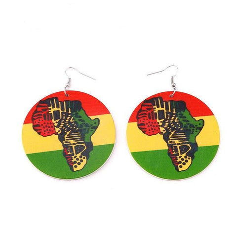 African Colors Wooden Earrings RLW2843