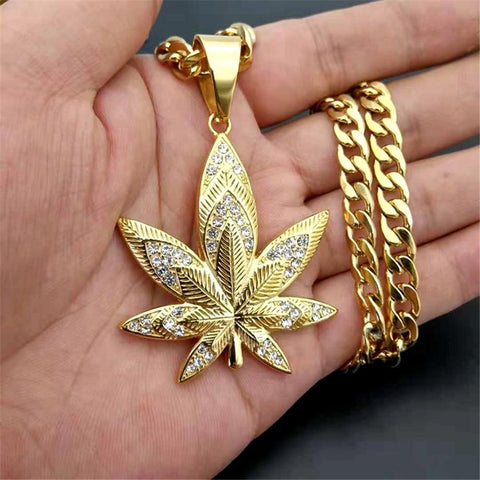 Hemp Leaf Gold Color Stainless Steel Pendant /Necklaces RLW97