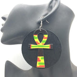 Round Ankh Wooden Earrings RLW2833
