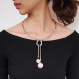 Simple Alloy Torques Charm Simulated Pearl Long Pendant/ Necklace RLW2551