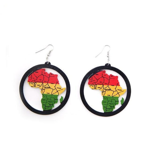Afrocentric Colors Wood Drop Earrings  RLW2842