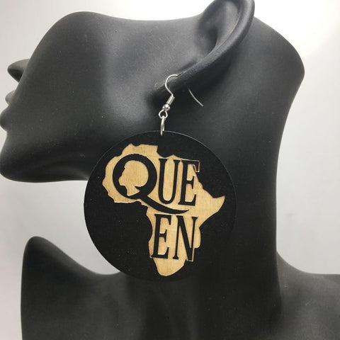 African Queen Wooden Earrings RLW2192