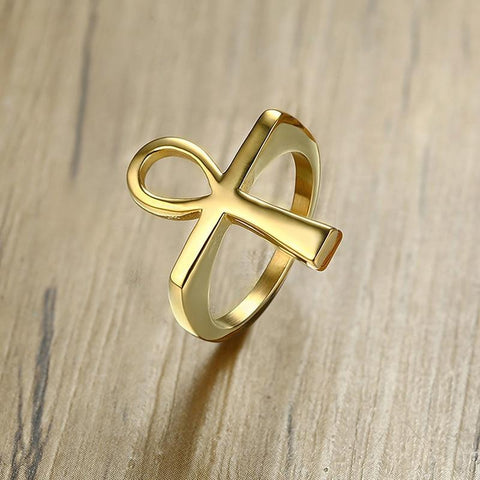 Gold Tone Stainless Steel Ankh Egyptian Ring RLW2797