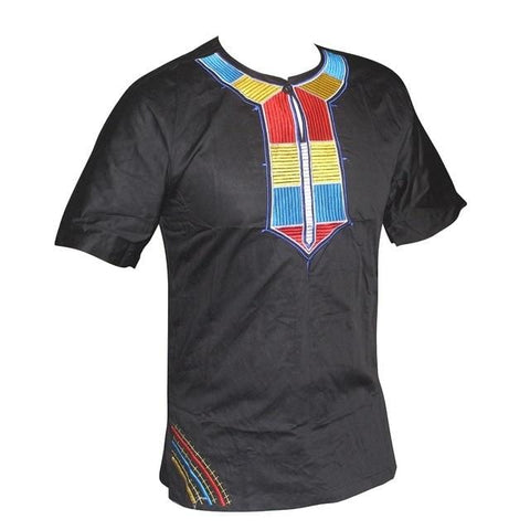 Africa Blue Ethnic Embroidery Men`s Dashiki Top RLW2840