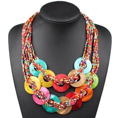 Handmade Small Beads Colorful Sea Shell Necklace RLW2835