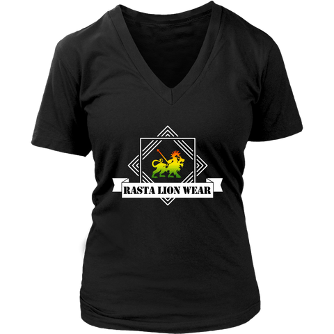 Original Rasta Lion Wear Women's V-Neck T-shirt RLW587