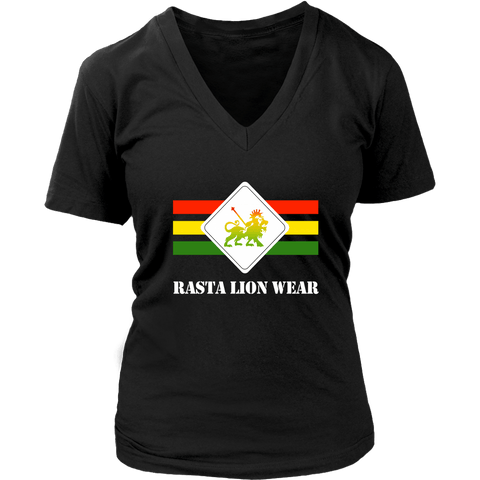 Rasta Lion Wear Original women's v-neck t-shirt RLW535