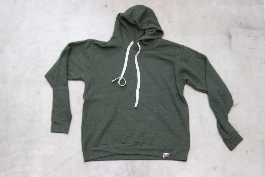 Made in USA Pullover Tri Blend Hoodie - Army Green - Garage Built Gear