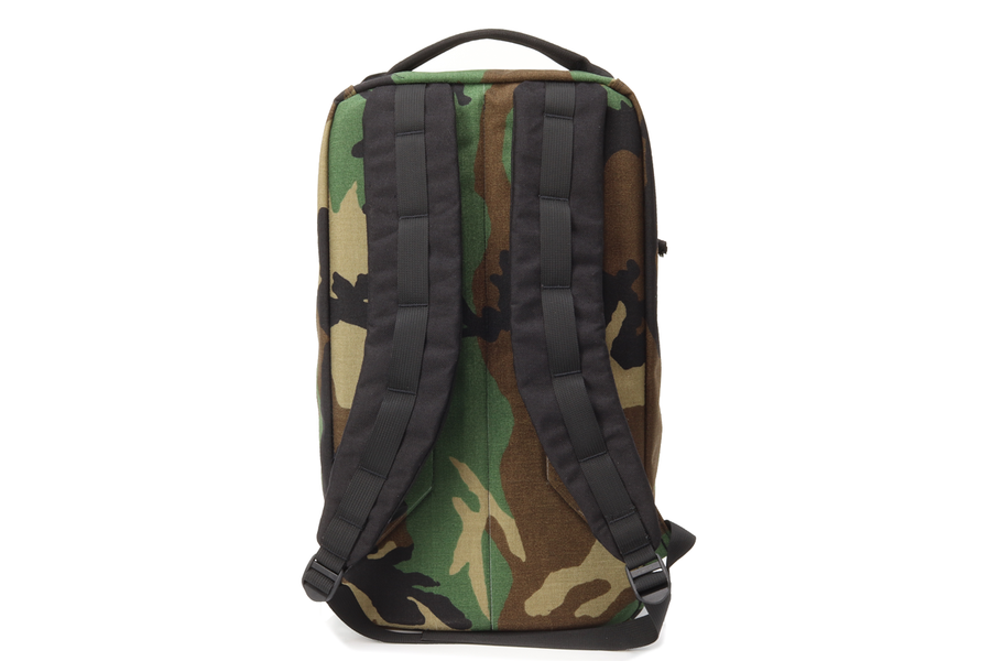 Woodland w/ black straps and black webbing - Garage Built Gear