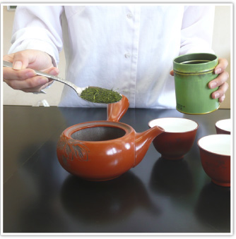 Green tea and japanese tea pot