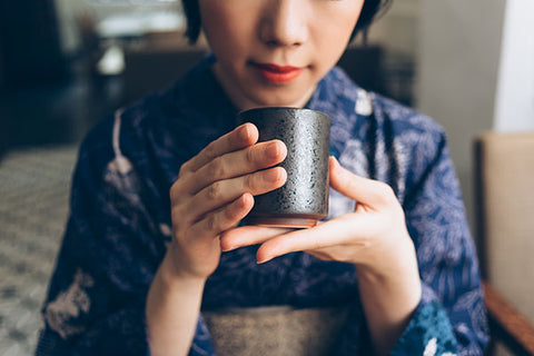Japanese Green Tea with Japanese Lady in Kimono