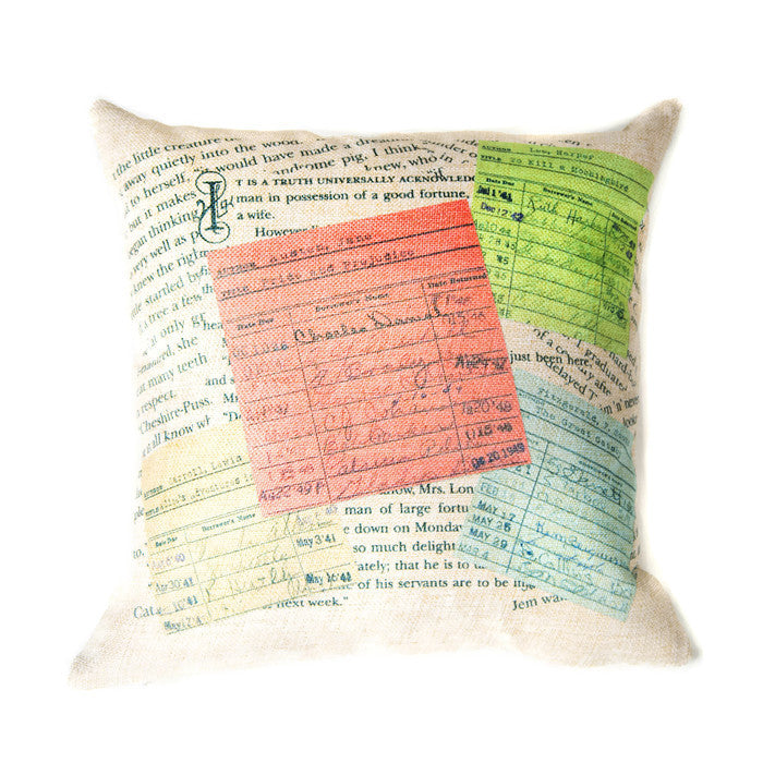 Literary Burlap Decorative Pillow_Library Home Decor and Gift