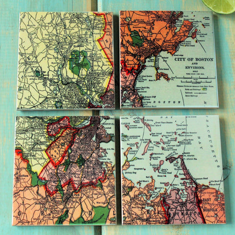 Coasters Glossy Ceramic Map of Boston