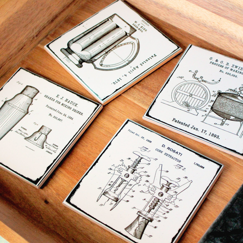 "Vintage Patent Art Coasters ""Pour Me A Drink"" Set of 4"