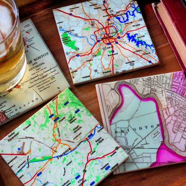 Glossy Ceramic Custom Map Coasters Set of 4