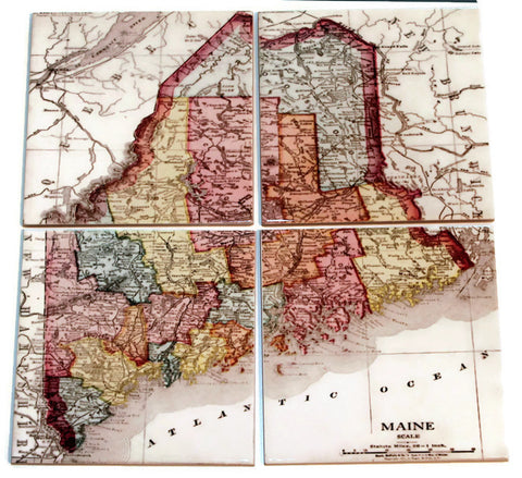 Maine Map Coasters