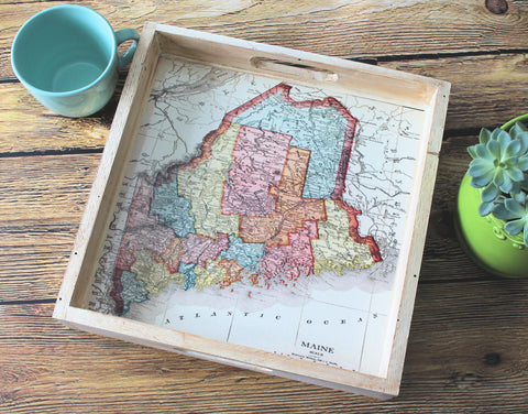Maine Map Rustic Shabby Chic Wooden Serving Tray