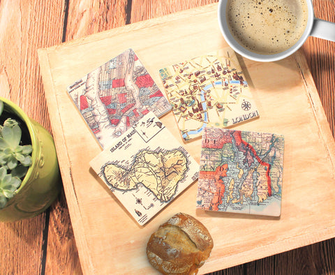 Custom Sandstone Map Coasters_Custom Geography Home Decor