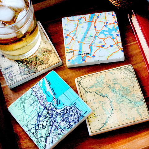 Tumbled Marble Custom Map Coasters Set of 4