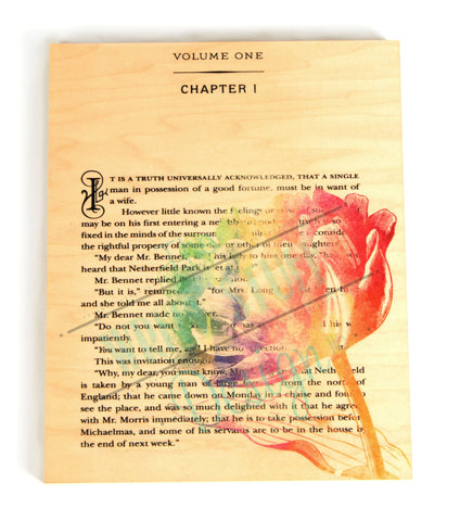 Pride and Prejudice Book Page Wooden Wall Panel Art