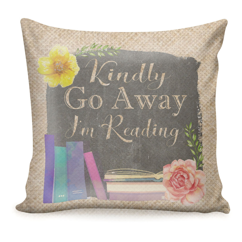 Bookworm Decorative Burlap Pillow Cover_Literary Home Decor_Library Reading Decor