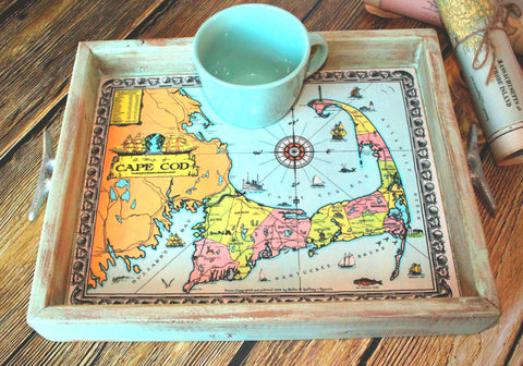 Handmade Cape Cod Map Serving Tray