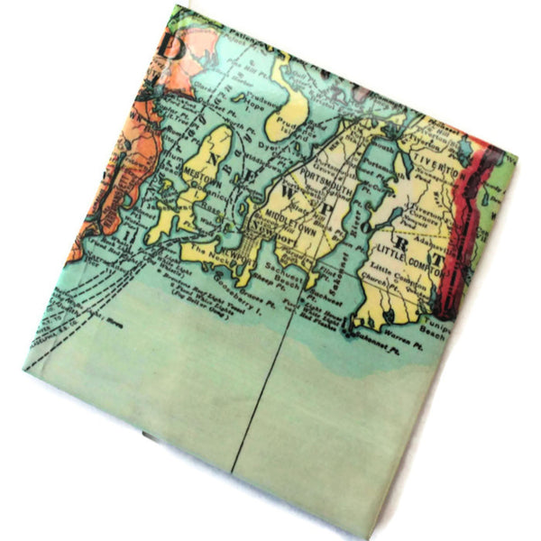 Coasters Glossy Ceramic Map of Rhode Island