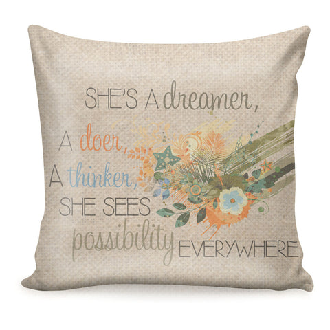 Inspirational Decorative Pillow Cover_She's A Dreamer, A Doer, A Thinker Pillow_Feminist Encouragement Decor