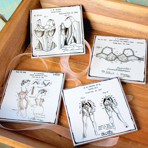 Vintage Patent Art Coasters of Women's Unmentionables - Set of 4