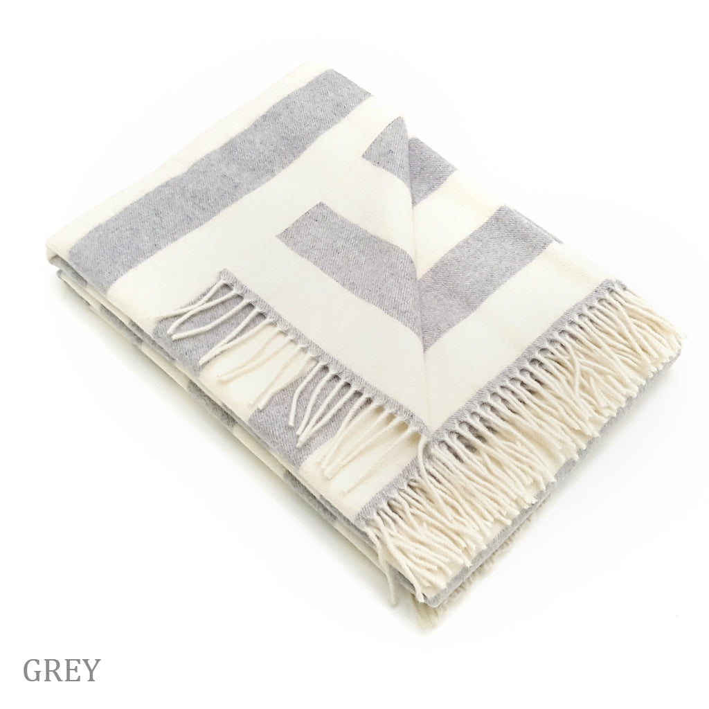 COBI - 2 Stripe Wool/Cashmere Throw - Grey
