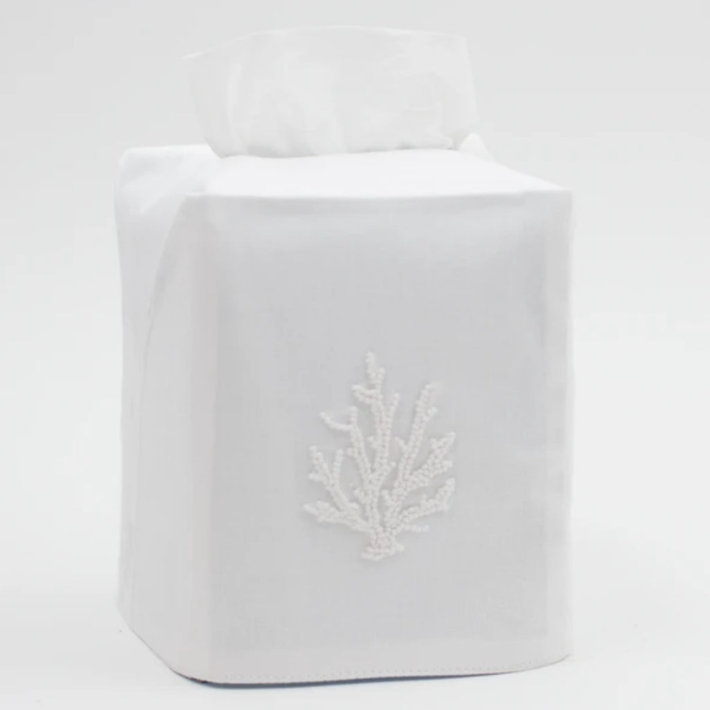 Coral Knot White Tissue Box Cover