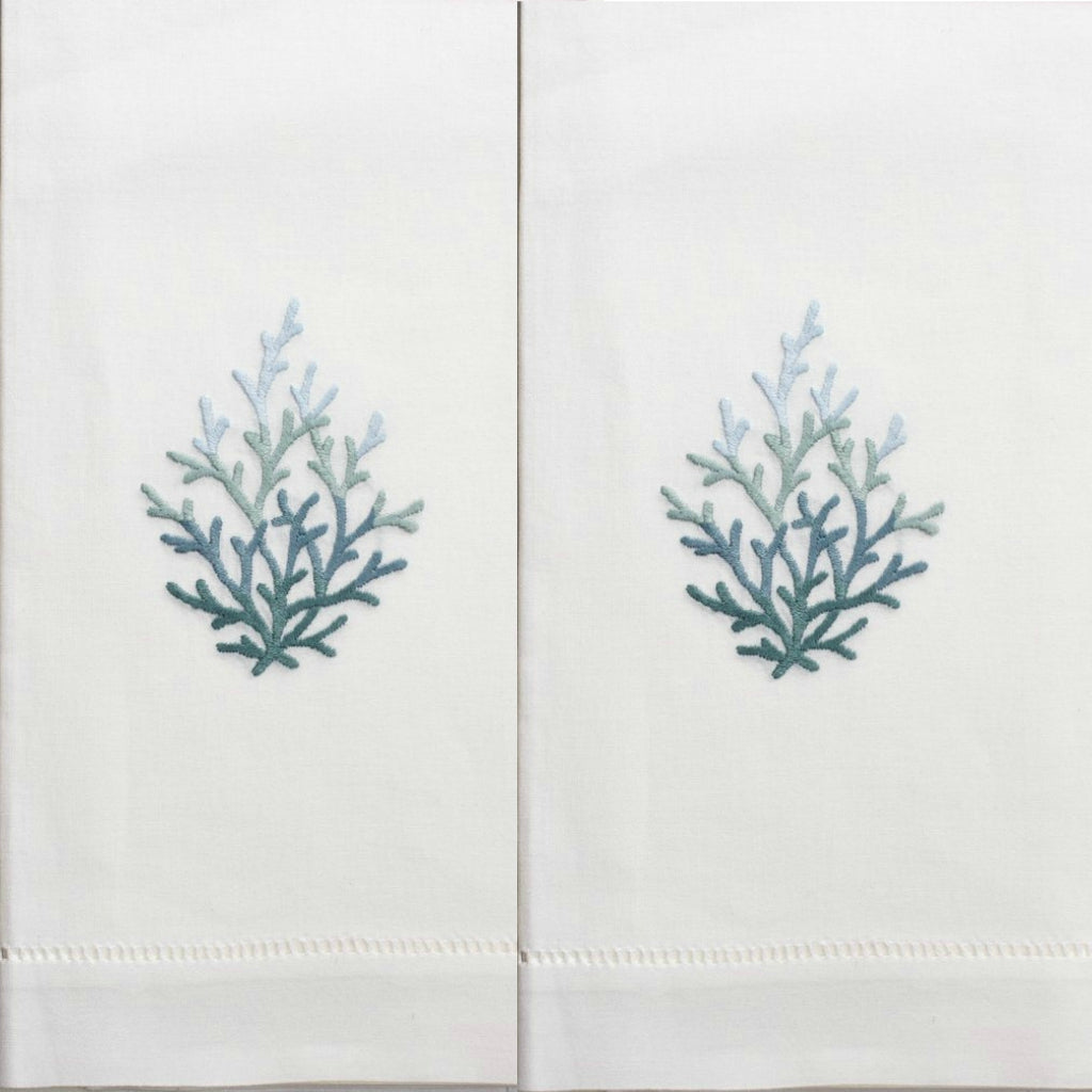 Henry Handwork - Coral Teal Guest Towels