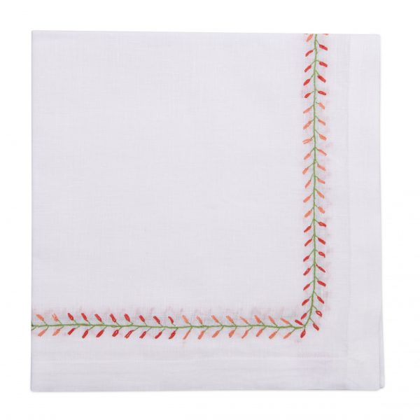 Floral Bud Embroidered Napkins - Coral