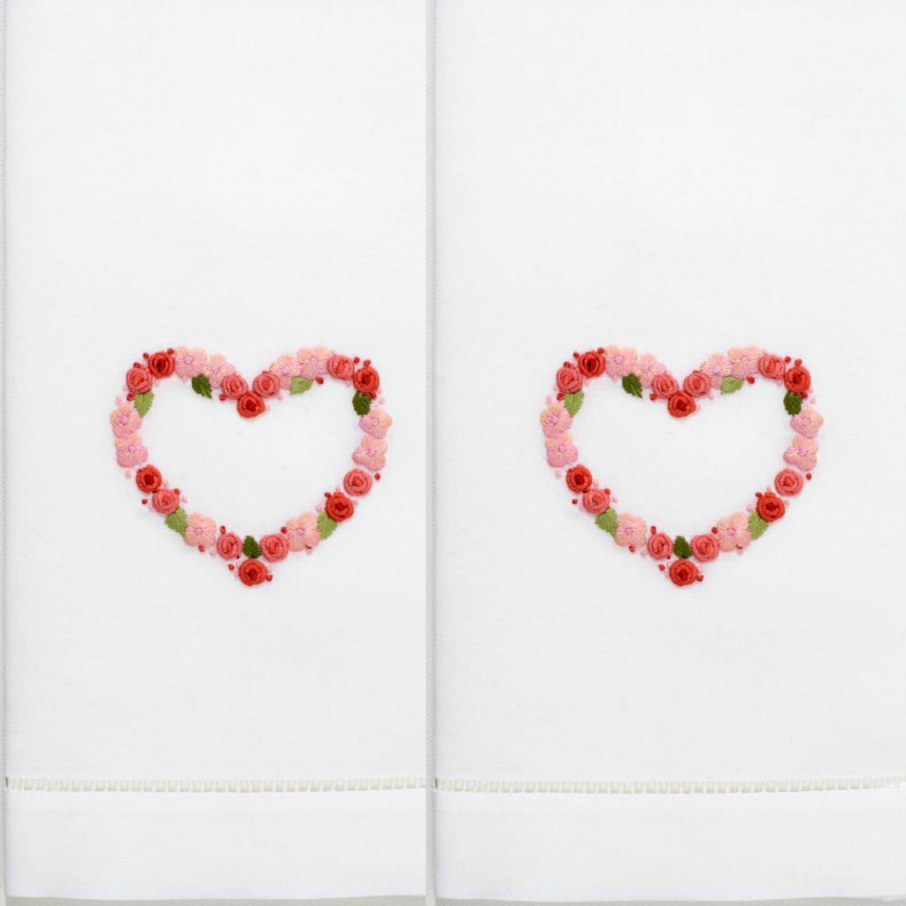 Henry Handwork - Flower Heart Guest Towel Set