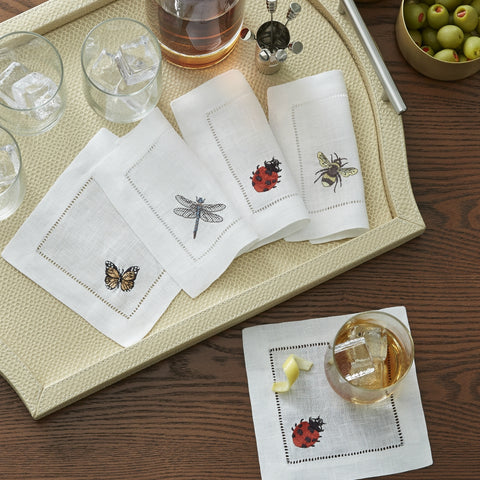 Sferra - Insetti Embroidered Cocktail Napkins
