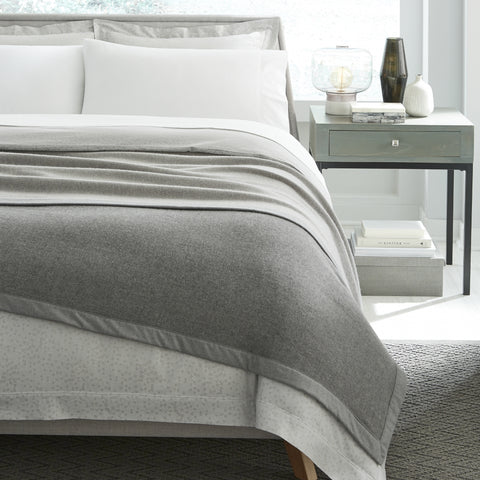 Sferra - Nerino Wool Blanket - Grey/Light Grey