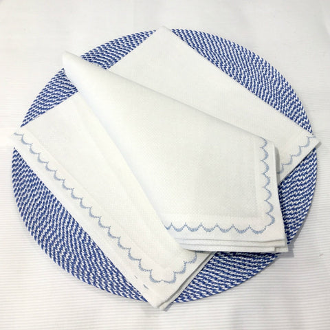Deborah Rhodes French Blue Scalloped Napkins