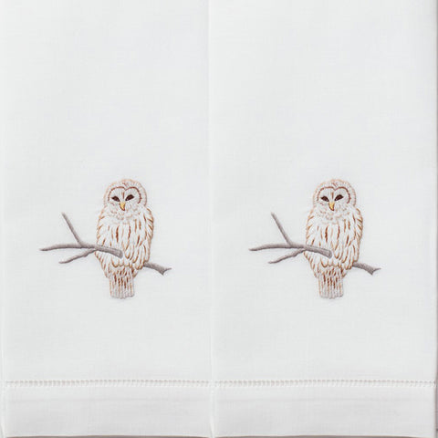 Snowy Owl Cotton Guest Towels